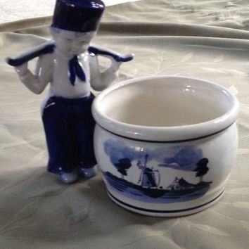 Hand Painted Delfts Blauw Holland Planter Dutch Boy Figurine Japan 1950s-60s Vintage Duo