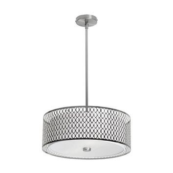 Dainolite 3 Light Glass Diffuser Pendant with Laser Cut Shade, Satin Chrome finish