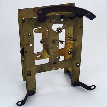 E Ingraham Clock Front and Back Movement Plates Assembly Tarnished Steampunk Parts