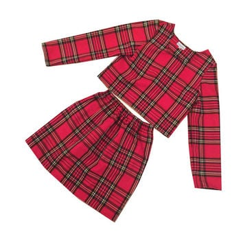 Red Tartan Plaid Co-ord Two Piece Long Sleeve Skater Skirt Clueless Check Womens Fashion Clothing Daytime