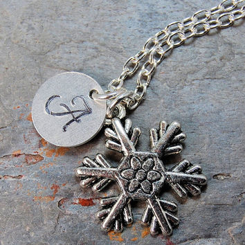 Snowflake Initial Necklace - Antiiqued Silver Necklace, Snowflake Charms, Christmas Jewelry, Hand Stamped Necklace