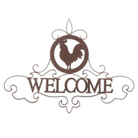Rooster Silhouette Welcome Sign