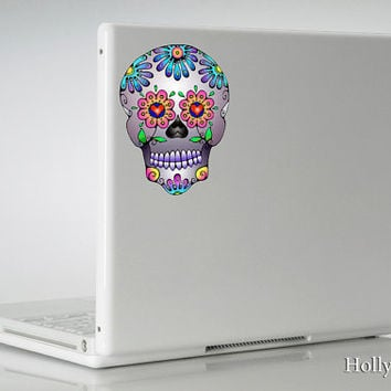 Lavender Sugar Skull decal Dia De Los Muertos Day of the Dead sticker MacBook laptop car indoor / outdoor use
