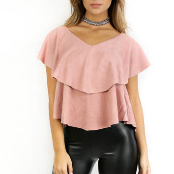 Mariposa Dusty Rose Suede Top
