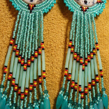 Rosette beaded Wolf Earrings