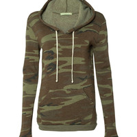 Women's Fleece Hoodie Sweater in Camo or Polka Dot