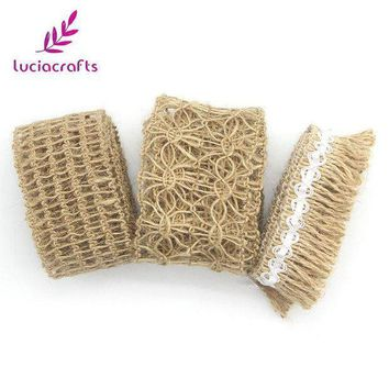 CREYN3C Lucia crafts 1m/lot Tape Roll Burlap Jute Ribbon With Lace Trims Sewing DIY Wedding/Party/Cake Decoration Supplies 047005047