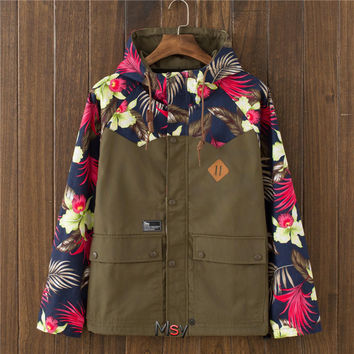 Men's Floral Quilted Lightweight Hoodies Jacket