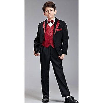 Eight Pieces Black And Red Ring Bearer Suit Tuxedo