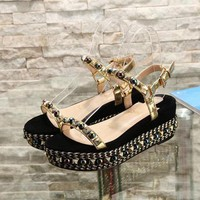 Christian Louboutin CL Pyraclou 6cm or 11cm Wedges Style #35 - Best Online Sale