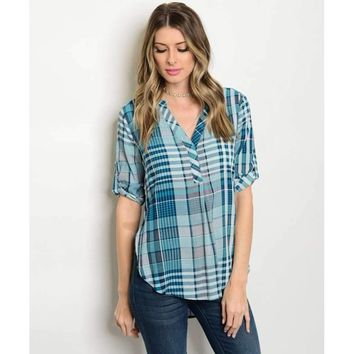 Women's Plaid Navy Tunic V-Neck Blouse