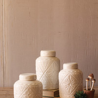 Set of 3 Ceramic Canisters with Geometric Pattern- White