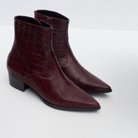 Mock croc print leather booties