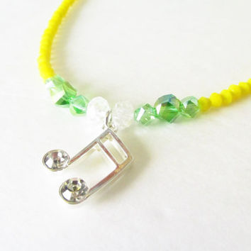 Music Note Necklace - Music Charm Necklace - Beaded Crystal Necklace - Band Symphony Orchestra Gift - Adjustable Necklace - Sixteenth Note
