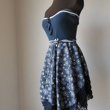 Boho Strapless Dress Black Romantic Pixie Lace Asymmetrical Mad Men Party Tattered Summer Cotton Gown