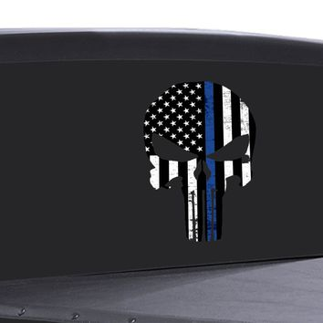 Punisher Skull Window Decal Thin Blue Line Vinyl Graphic Police Support USA FLAG
