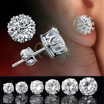 Worth having Chic 2015  New Retro Classical Silver Crystal Crown Ear Stud Earrings Jewelry Gift = 1946799556