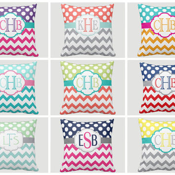 Monogram PILLOW Custom THROW Pillow or Pillow SHAM Pillow Case Choose Colors Size Home Decor Nursery Bedding Baby Gift Baby Name Made in Usa