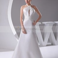 Key Hole Featured Princess Cut Satin Wedding Gown with Beaded Decor