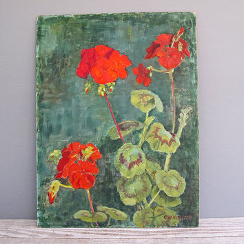 original vintage painting of red geraniums by KatyBitsandPieces