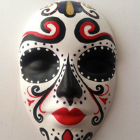 Sugar skull Day of the Dead wall hanging mask sculpture red and black Halloween decor Catrina Art Mexican folk art home decor All Saints