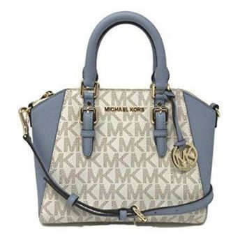 Michael Kors Ciara Medium Signature Messenger Bag in Vanilla/Pale Blue