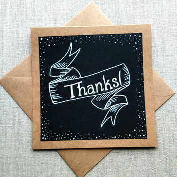 """Handmade black and white """"Thanks"""" greeting card • square kraft card • Thank you card • blank card"""