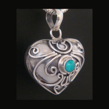 Sterling Silver Harmony Ball, Lovely Heart Shape with Turquoise Gemstone on an Ornate 925 Silver Pendant. Pregnancy Gifts, Bola Necklace 294