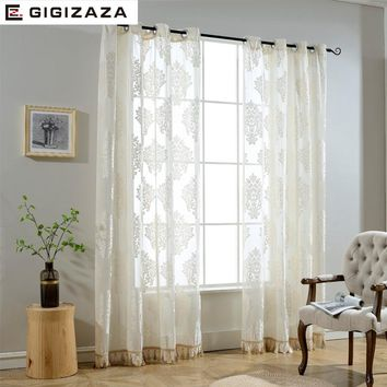 GIGIZAZA Luxury Decorative Voile Curtain Tassel Drape for Living Room Window Curtain Sheer Tulle White Color Ready Made
