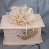 BLush Wedding Ring Bearer Pillow Box Lace Flower Rhinestone Personlaize Heart
