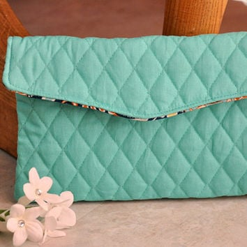 Teal quilted clutch purse, small aqua handbag, beautiful clutch bag, unique foldover clutch, one of a kind purse, cute pouch bag, gift idea