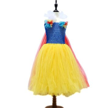 Fashion High Quality Handmade Kids Summer Clothes Children Costumes for Girls American Snow White Princess Dress Girls Costumes