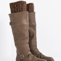 Brown Buckled Sweater Trim Knee High Boot | Riding Boots | rue21