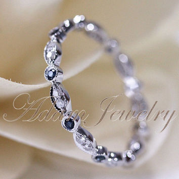 14k White Gold Blue Sapphires & Diamonds Ring/ Band Art Deco Full Eternity Band / Wedding Ring/ Promise Ring/ Engagement Ring