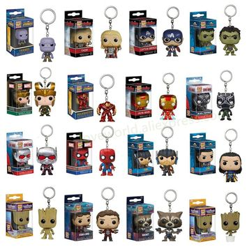 FUNKO POP Marvel Pocket Pop Keychain Official The Avengers Super Hero Characters Action Figure Collectible Model Christmas Toys