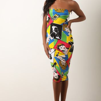 Headshot Pop Art Tube Midi Dress