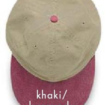 KHAKI BURGUNDY HAT - One Women or Men Adams Two Tone Baseball Cap - 6 Color Hats Available - Price Apparel Embroidery