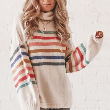 Baby Girl Cream Striped Turtle Neck Sweater