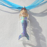 Mermaid Tail in a Bottle, Miniature Mermaid, Bottle Charm Necklace, Nautical Jewelry