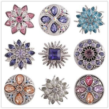 New Design High Quality Crystal 18mm Snap Button Partnerbeads ODM, OEM Women Charm Bracelet Snap Jewelry Free Shipping KC5357