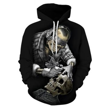 Skeleton Skull Head Getting Tattooed Hoodie Sweater