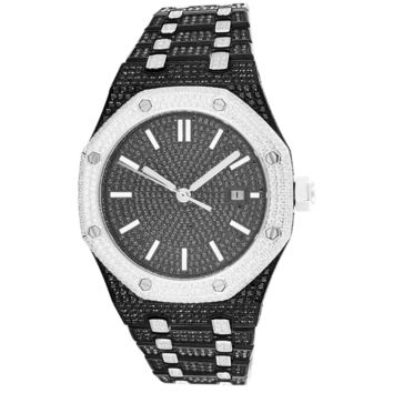 Stainless Steel Black Men's Bling Automatic Movement Watch