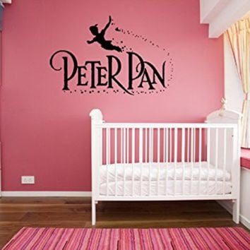 kau407 Peter Pan wall decal, peter pan wall sticker, wall decal nursery,wall decal kids,wall sticker disney,Tinkerbell Pirate Never Grow Up