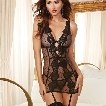 Point d'Esprit Lace And Mesh Garter Dress