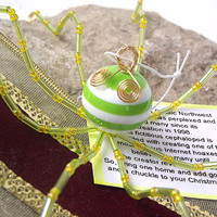 Bright Green Beaded Christmas Octopus Ornament