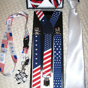 US Flag American Flag Suspenders,Lanyard,Tie &Red,White,Blue Stripes Bow Tie-New
