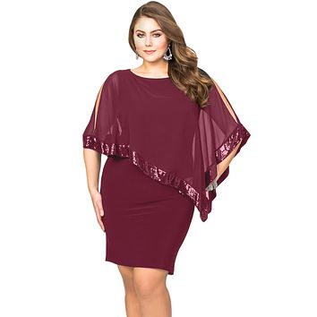 Burgundy Sequined Mesh Overlay Plus Size Poncho Dress