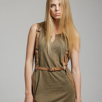 Tan color leather women body harness