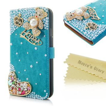 Mavis's Diary 3D Handmade Crystal Crown HAPPY-Line Cute Bear Flower Rhinestone Heart Fashion Blue Leather Wallet Type Magnet Design Flip Case Cover with Soft Clean Cloth (Samsung Galaxy Note 3 SM-N9000)