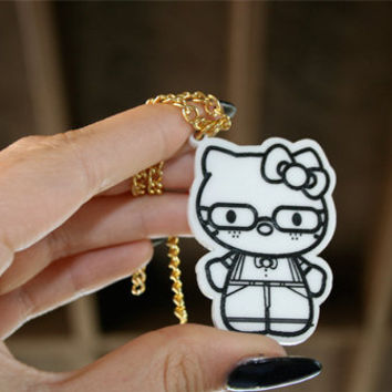 Custom Nerd Hello Kitty Necklace (laser cut acrylic)